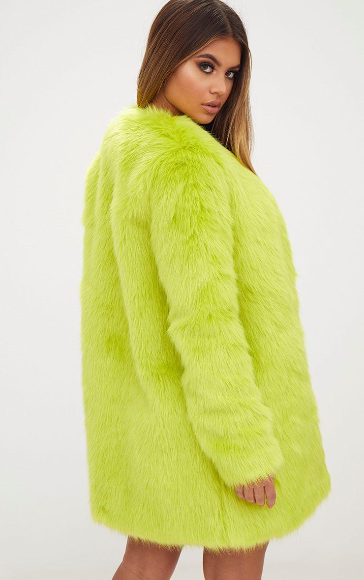 manteau en fausse fourrure vert citron manteaux et vestes. Black Bedroom Furniture Sets. Home Design Ideas
