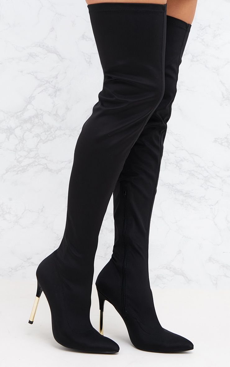 Black Lycra Over The Knee Slim Heel Skin Boot 1