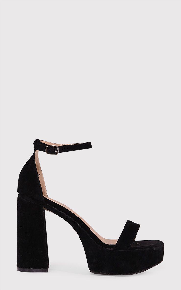 Cyra Black Faux Suede Platform Strappy Heels