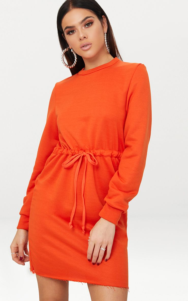 Bright Orange Tie Waist Sweater Dress