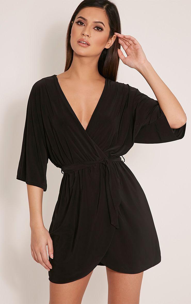 Martie Black Wrap Front Kimono Sleeve Mini Dress 1