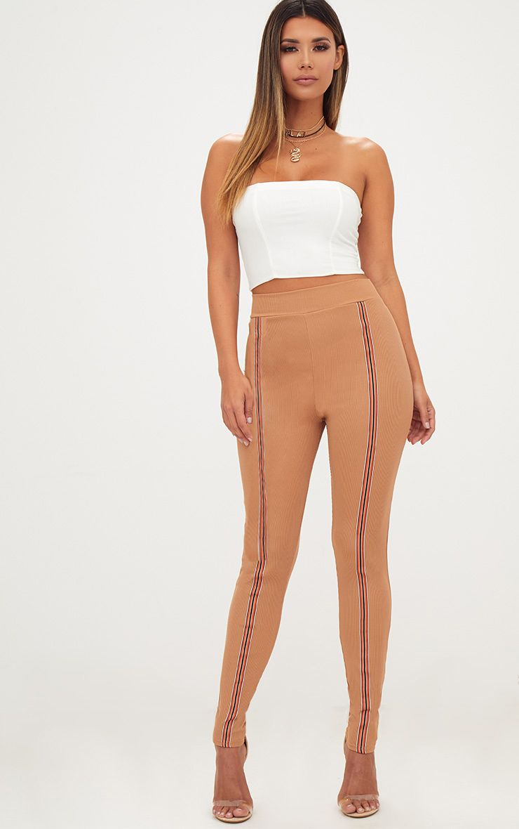 Camel Ribbed Track Stripe Leggings