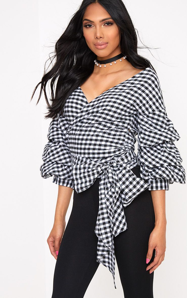 Marlow Black Gingham Oversized Ruffle Sleeve Low Shoulder Shirt