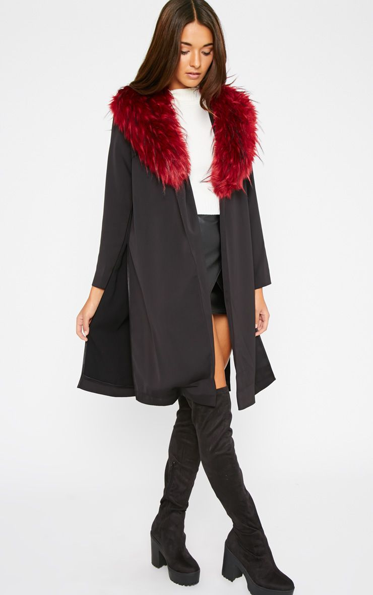 Felix Red Fur Collar Black Duster Coat 1