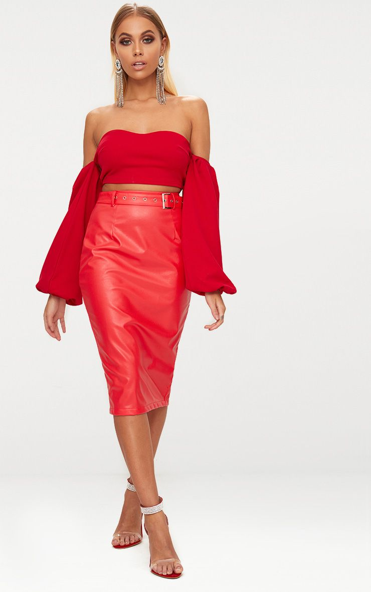 Red Faux Leather Belt Midi Skirt