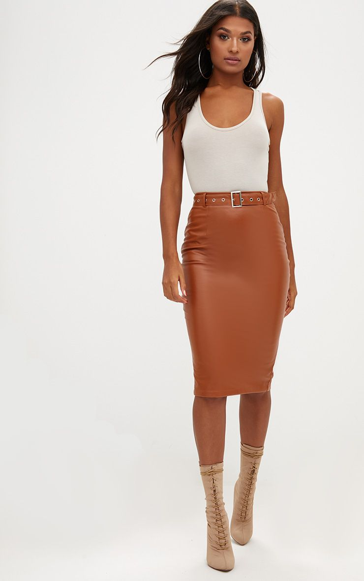 Tan Faux Leather Belted Midi Skirt