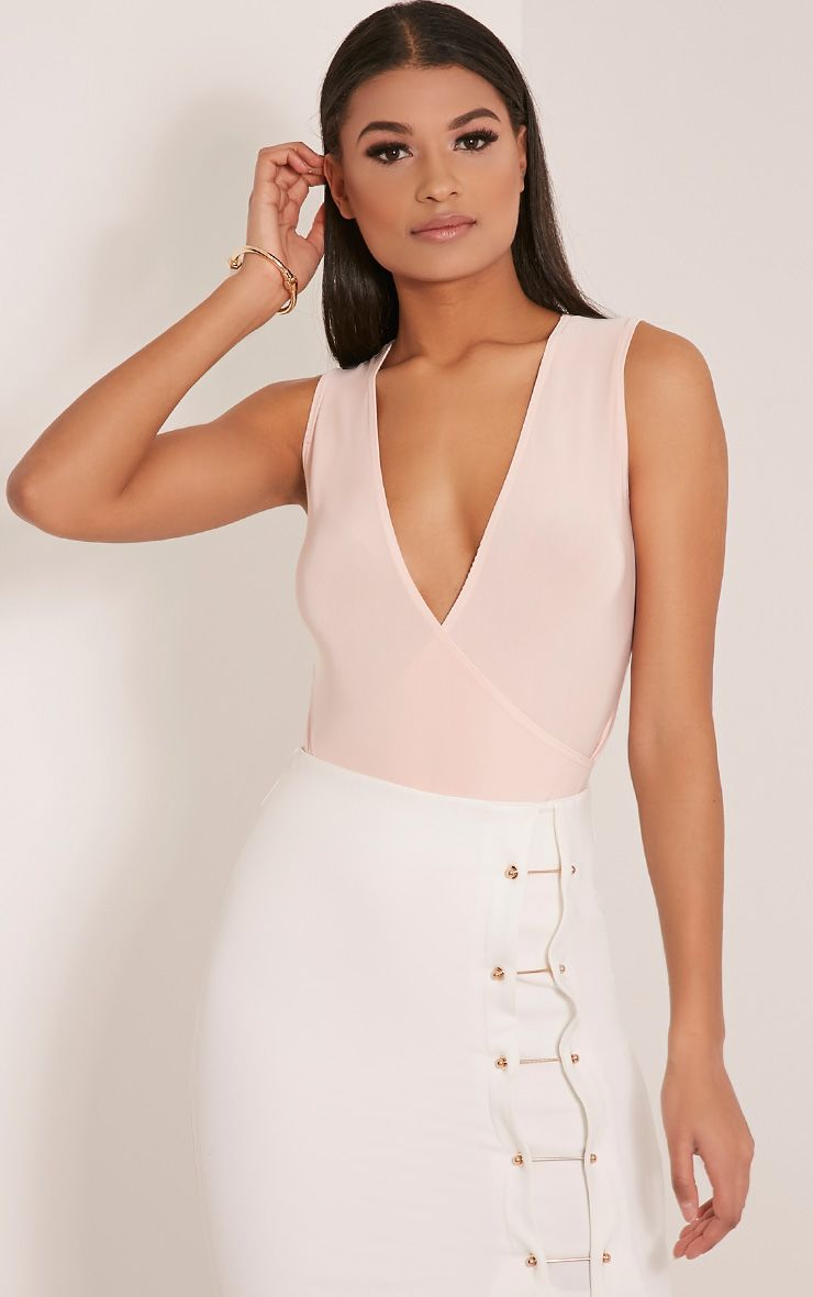 Sicily Nude Sleeveless Cross Over Bodysuit