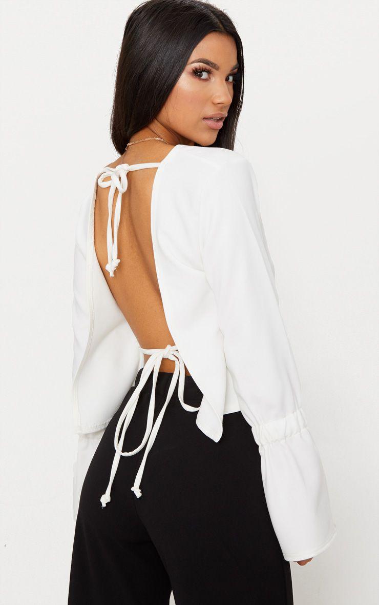 Cream Open Tie Back Frill Sleeve Top