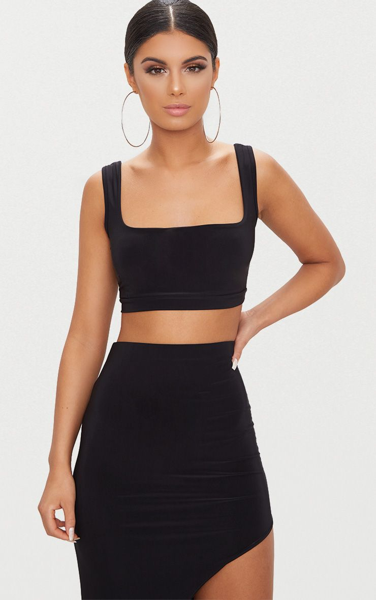 Black Second Skin Slinky Square Neck Crop Top 1