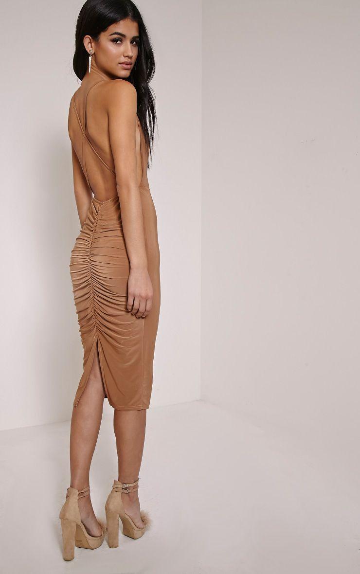 Kayda Camel Cross Back Cowl Neck Slinky Midi Dress 1