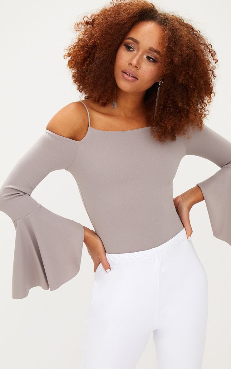 Ice Grey Flute Sleeve Cold Shoulder Thong Bodysuit