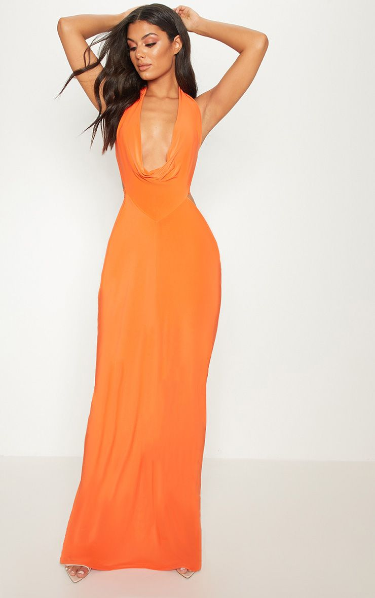 Bright Orange Extreme Cowl Maxi Dress