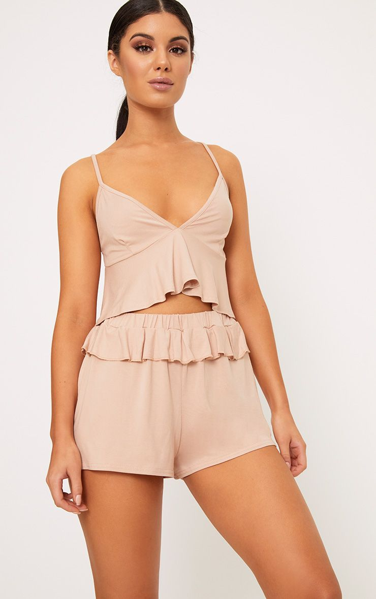 Nude Frill Detail Nightwear Set