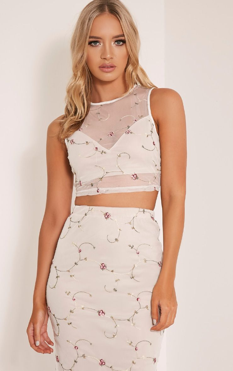 Mercy White Embroidered  Floral Mesh Crop Top 1