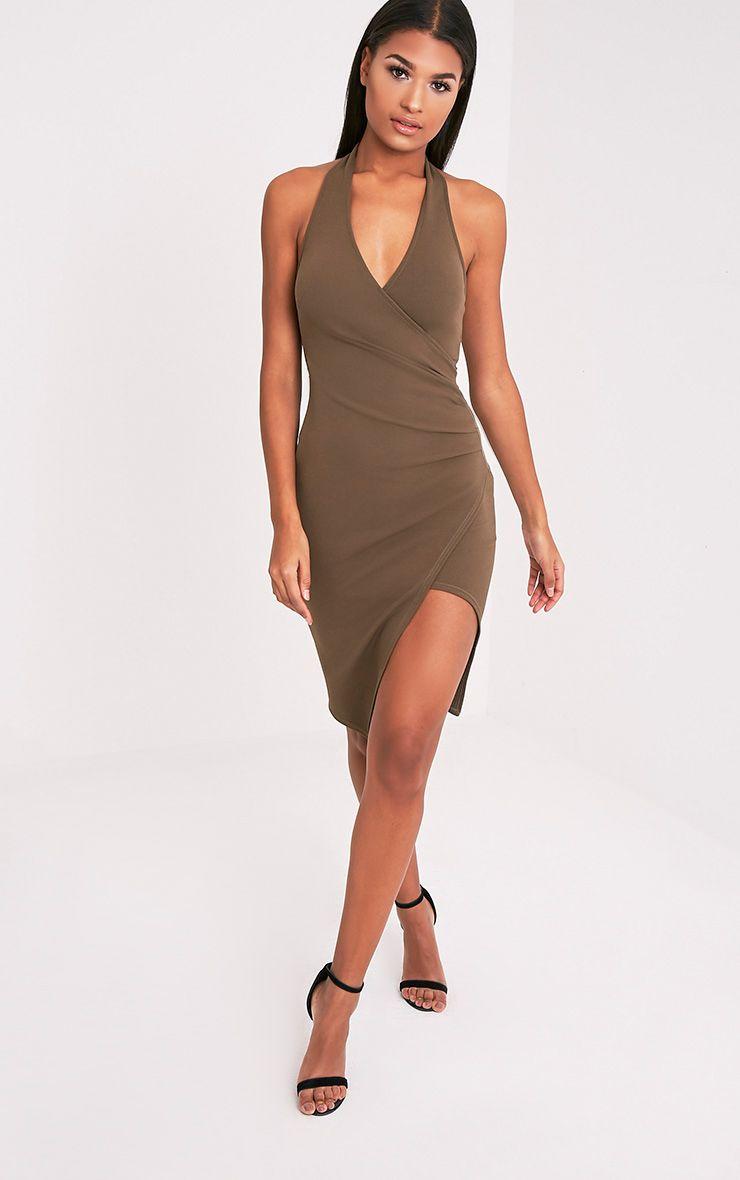 Fern Khaki Halterneck Wrap Front Crepe Midi Dress