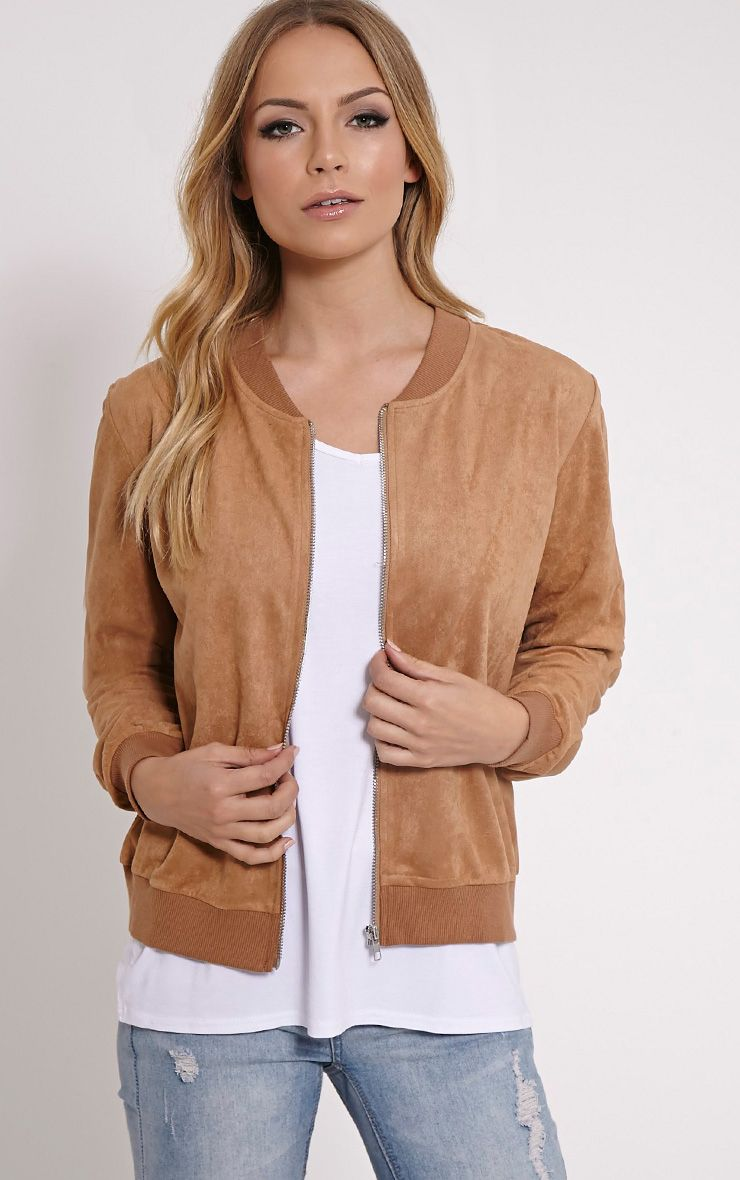 Riva Camel Faux Suede Bomber Jacket 1