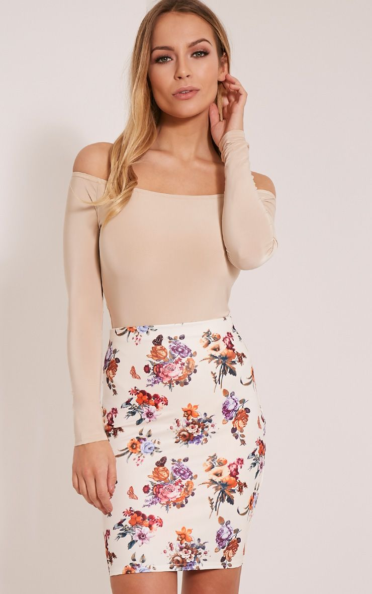 Betty Cream Floral Bodycon Mini Skirt 1