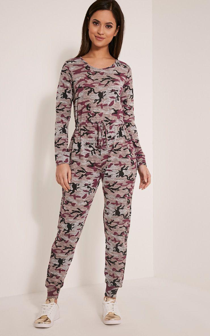 Lottie Mauve Camouflage Long Sleeve Casual Jumpsuit