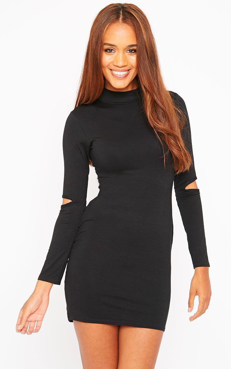 Basic Black Slit Elbow Jersey Mini Dress 1