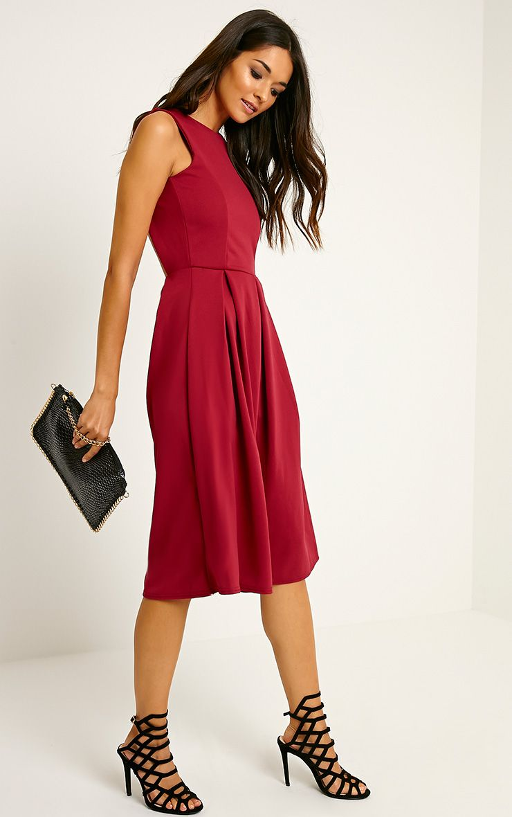 Fiona Burgundy Long Skater Dress 1