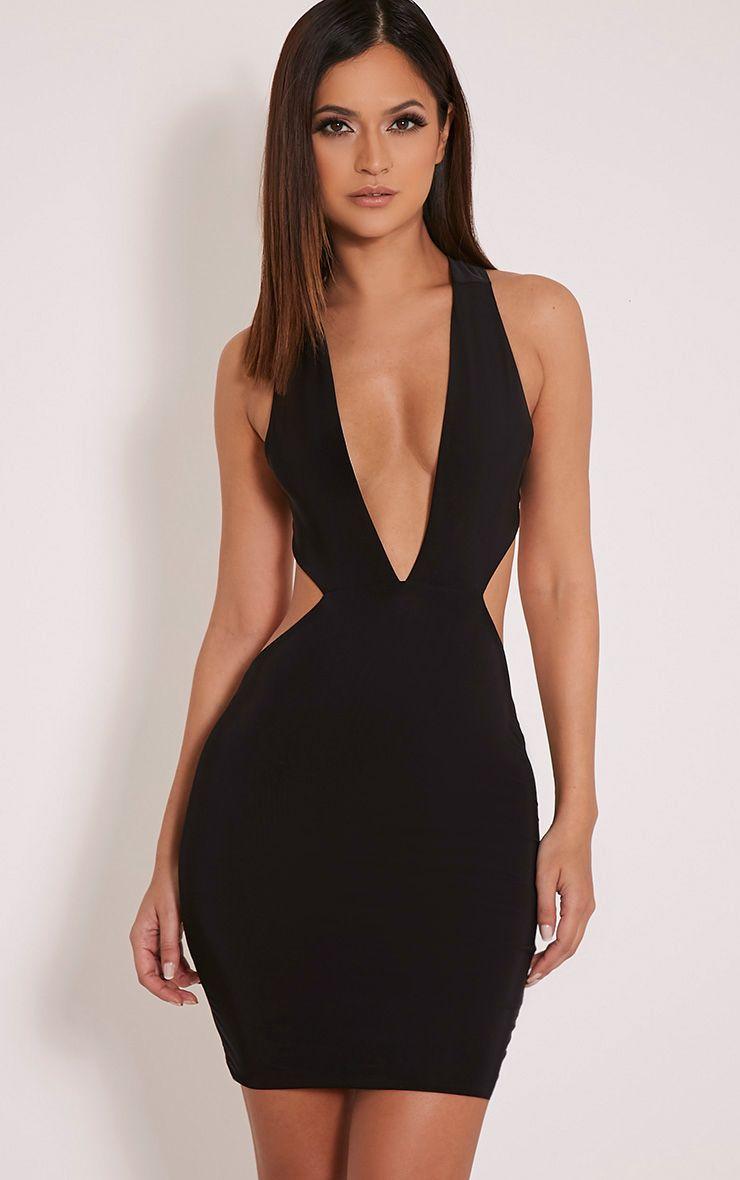 Biddy Black Deep V Plunge Bodycon Dress 1