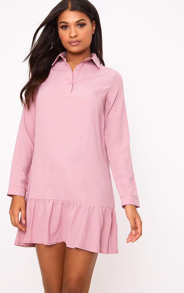 Kiera Dusty Pink Frill Hem Shirt Dress 1