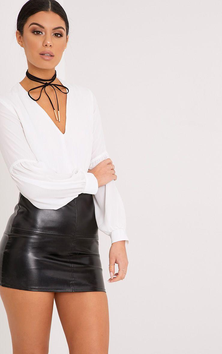Petite Wila Cream Woven V Neck Puff Sleeve Thong Bodysuit