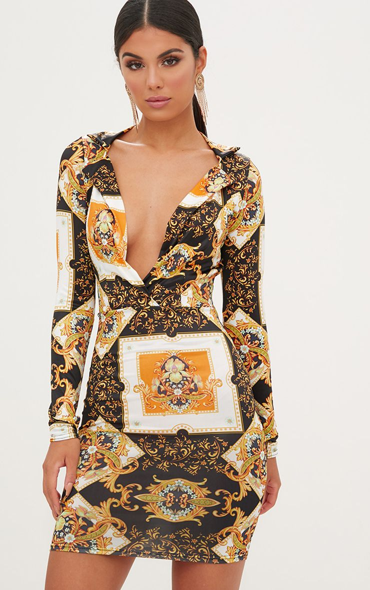 Black Scarf Print Collar Detail Bodycon Dress