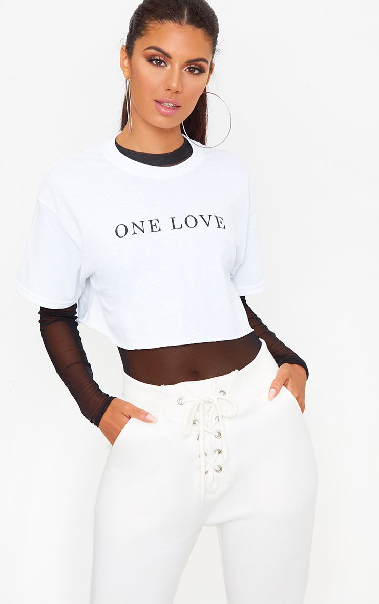 One Love Slogan White Crop T Shirt