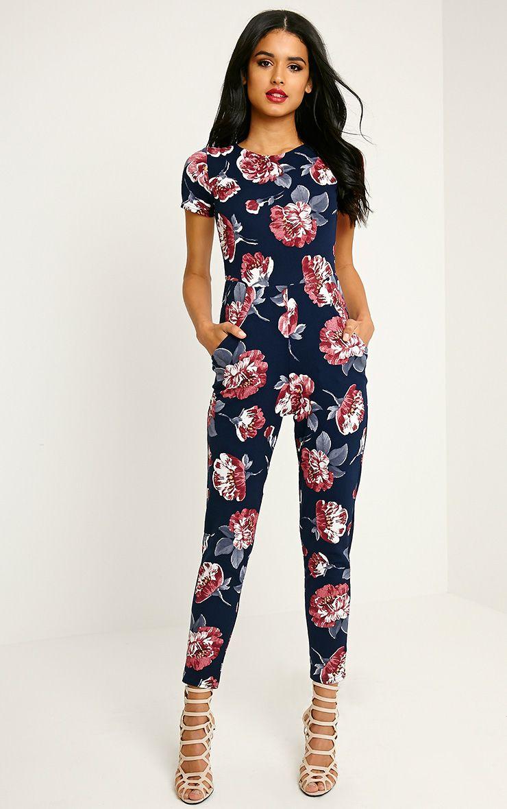 Rachael Navy Floral Printed Jumpsuit 1