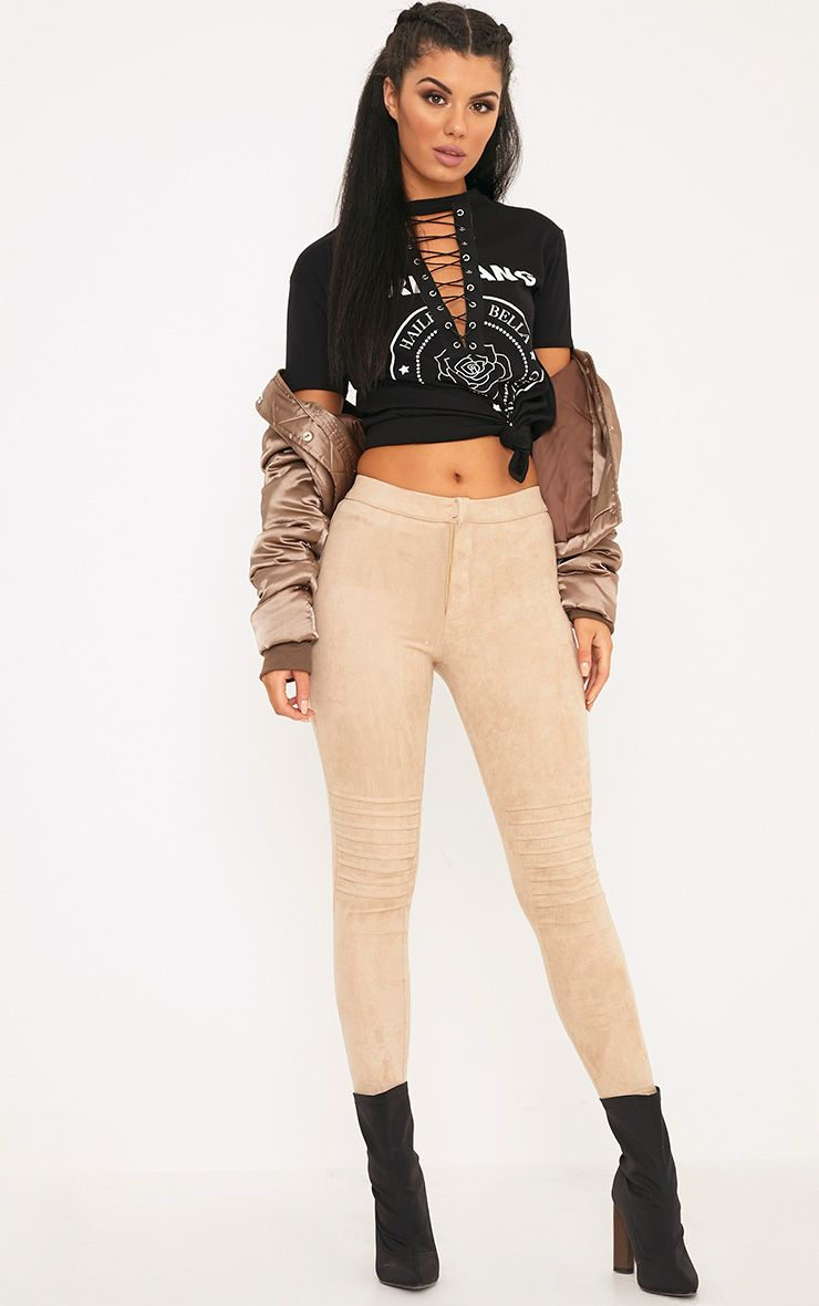 Kristy Stone Faux Suede Knee Panel Cropped Trousers