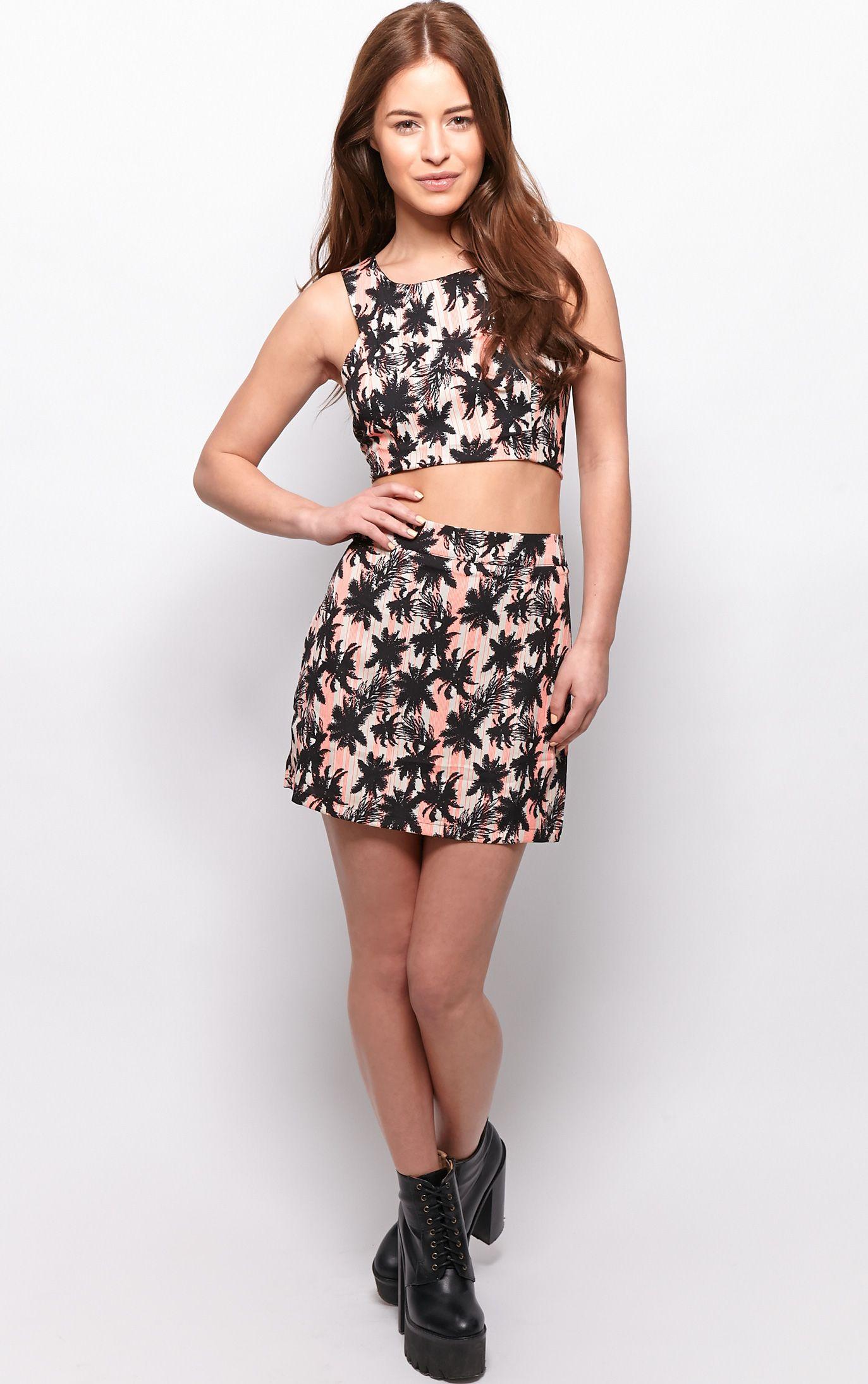 Kassidy Black Palm Tree Print Mini Skirt  1