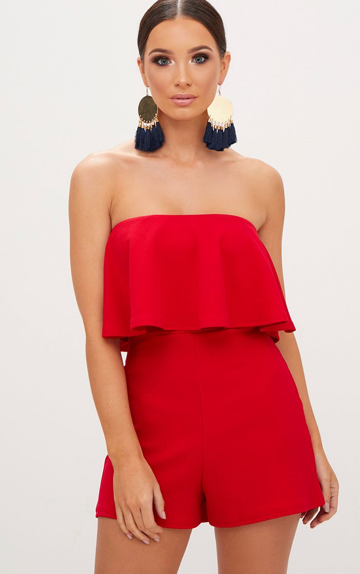 Red Double Layer Playsuit 1
