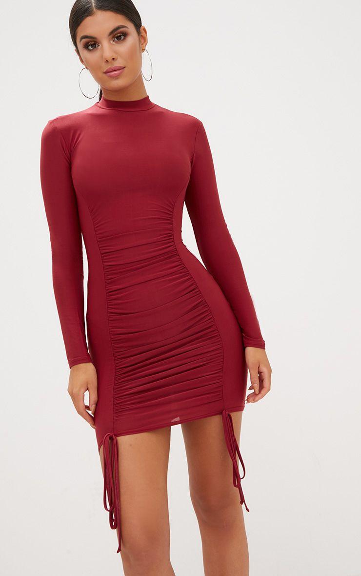 Burgundy Tie Detail Bodycon Dress