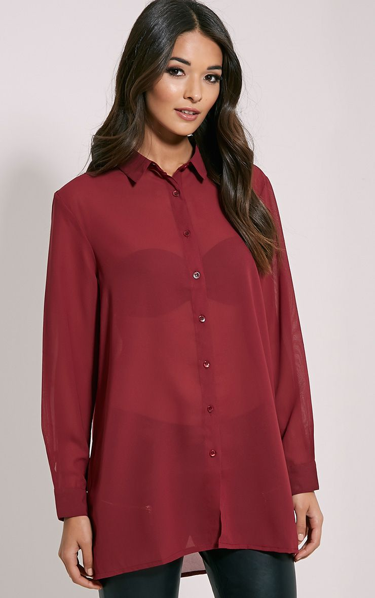 Daniela Burgundy Chiffon Shirt 1