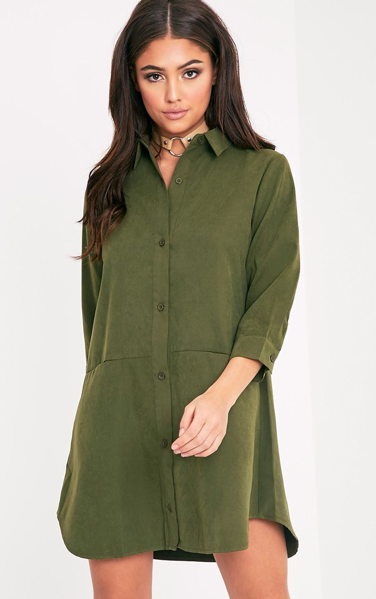 Marnie Khaki Pocket Detail Shirt Dress