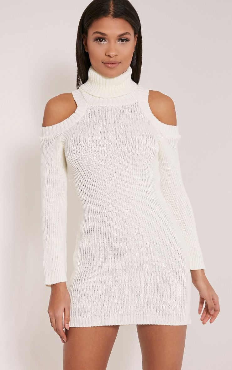 Talisma Cream Cold Shoulder Jumper Dress White
