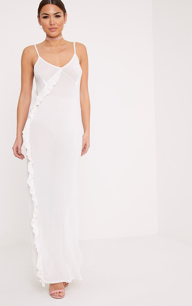 Antonia White Ruffle Mesh Maxi Dress