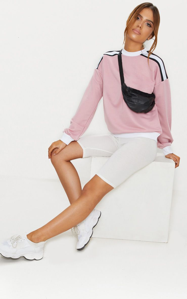 Rose Triple Shoulder Stripe Oversized Sweater