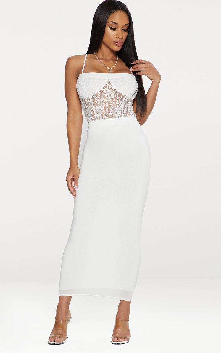 White Second Skin Slinky Midaxi Skirt