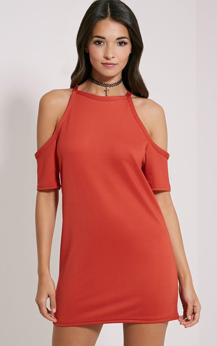 Nola Rust Cut Out Shoulder Dress 1
