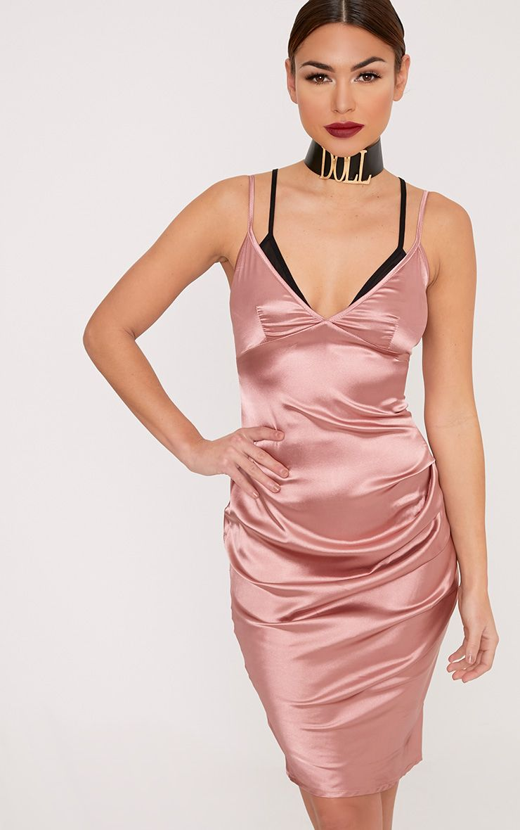 Amber Rose Satin Mesh Bralet Midi Dress