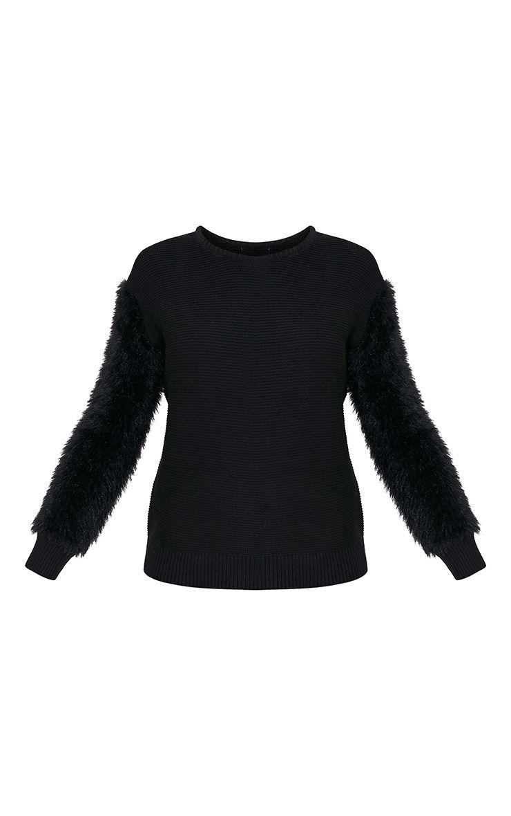 Rene pull tricoté fin à manches duveteuses noir 3