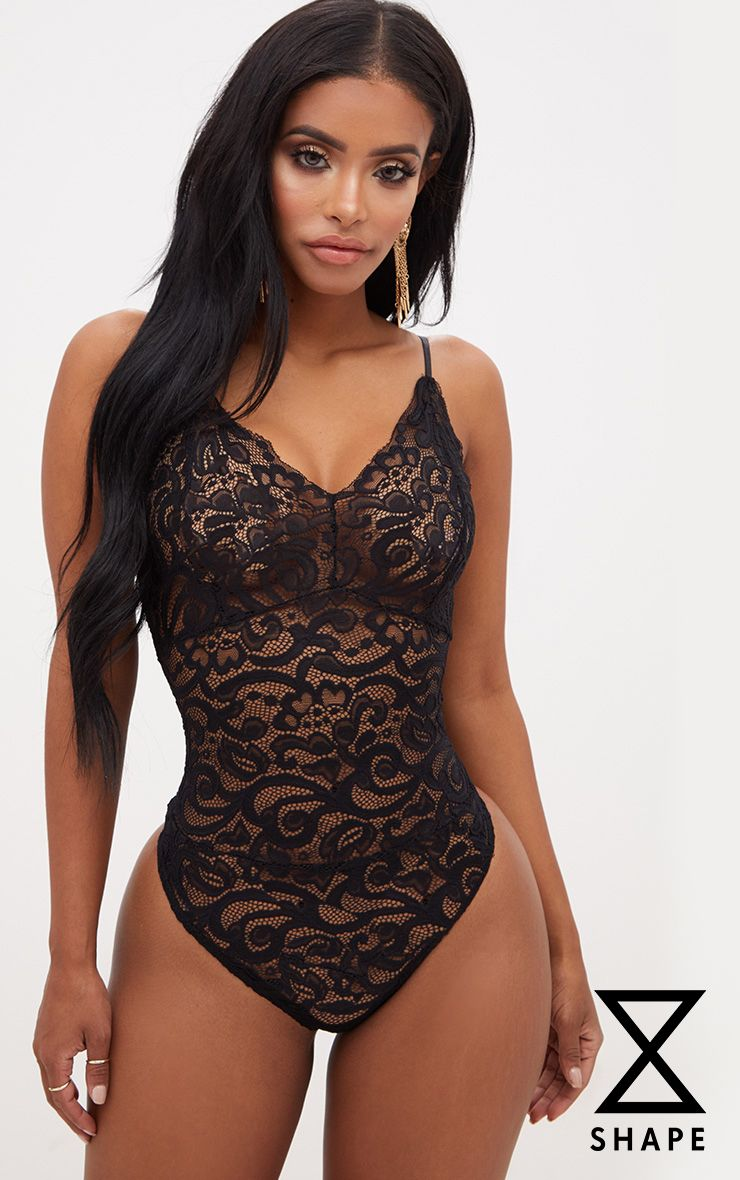 Shape Black Sheer Lace Bodysuit