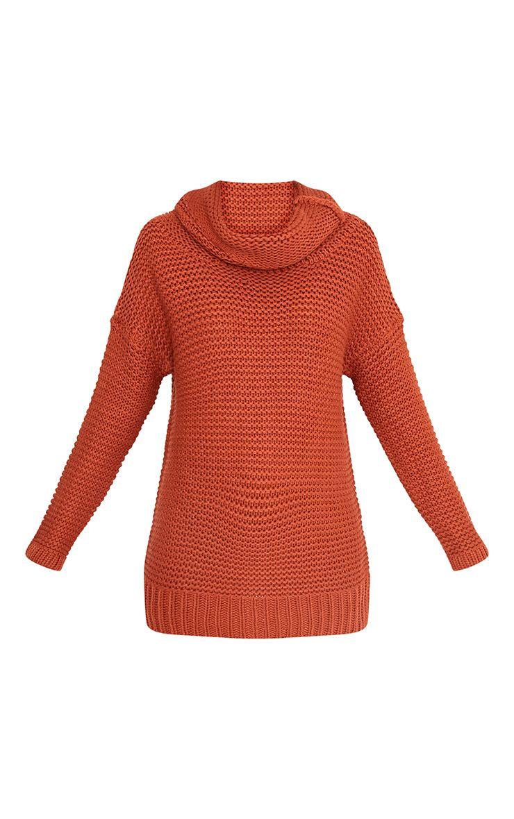 Camarina pull tricoté épais à col roulé cannelle 3