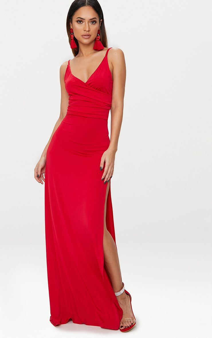Red Strappy Plunge Slinky Maxi Dress
