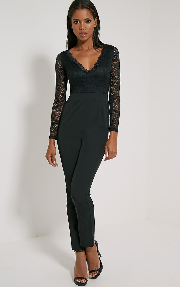Anissa Black Lace Sleeve Jumpsuit 1