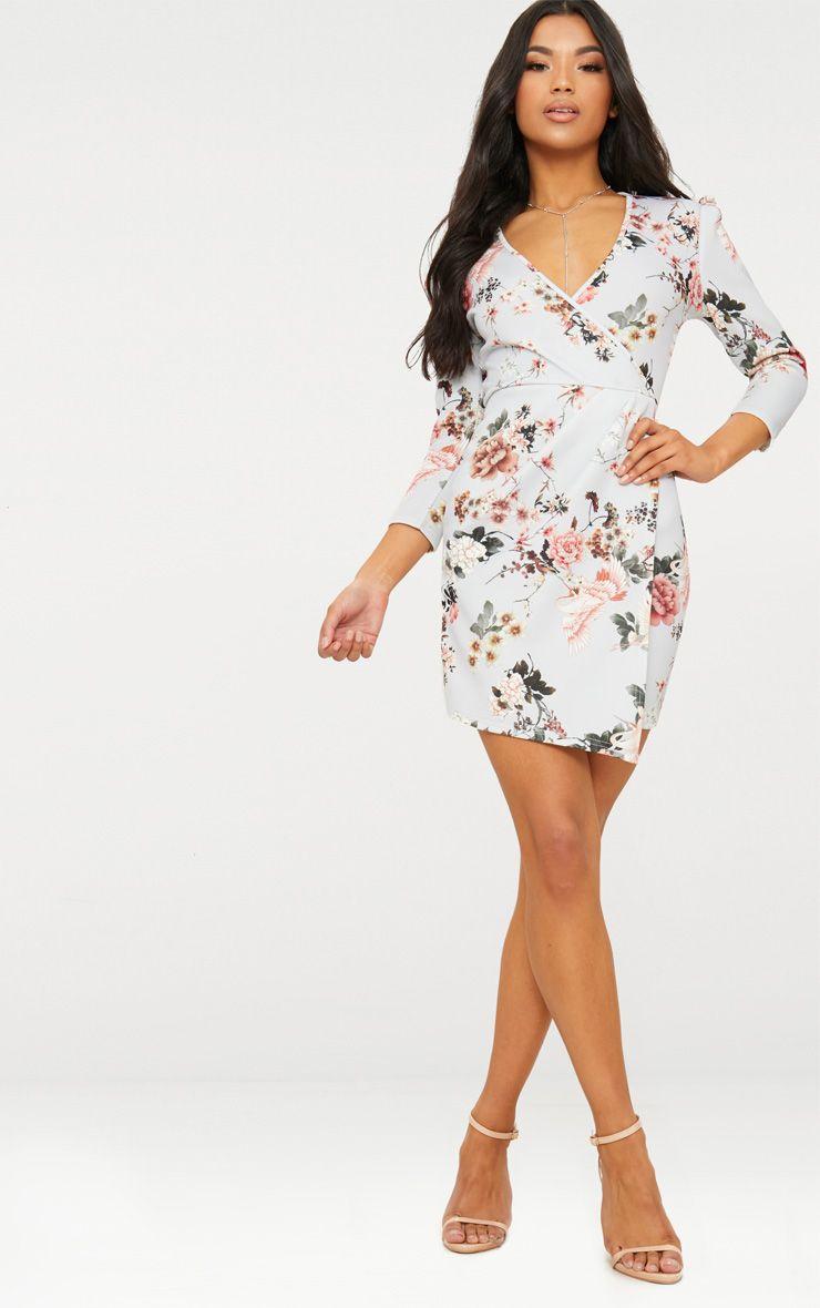 Grey Floral Wrap Long Sleeve Dress