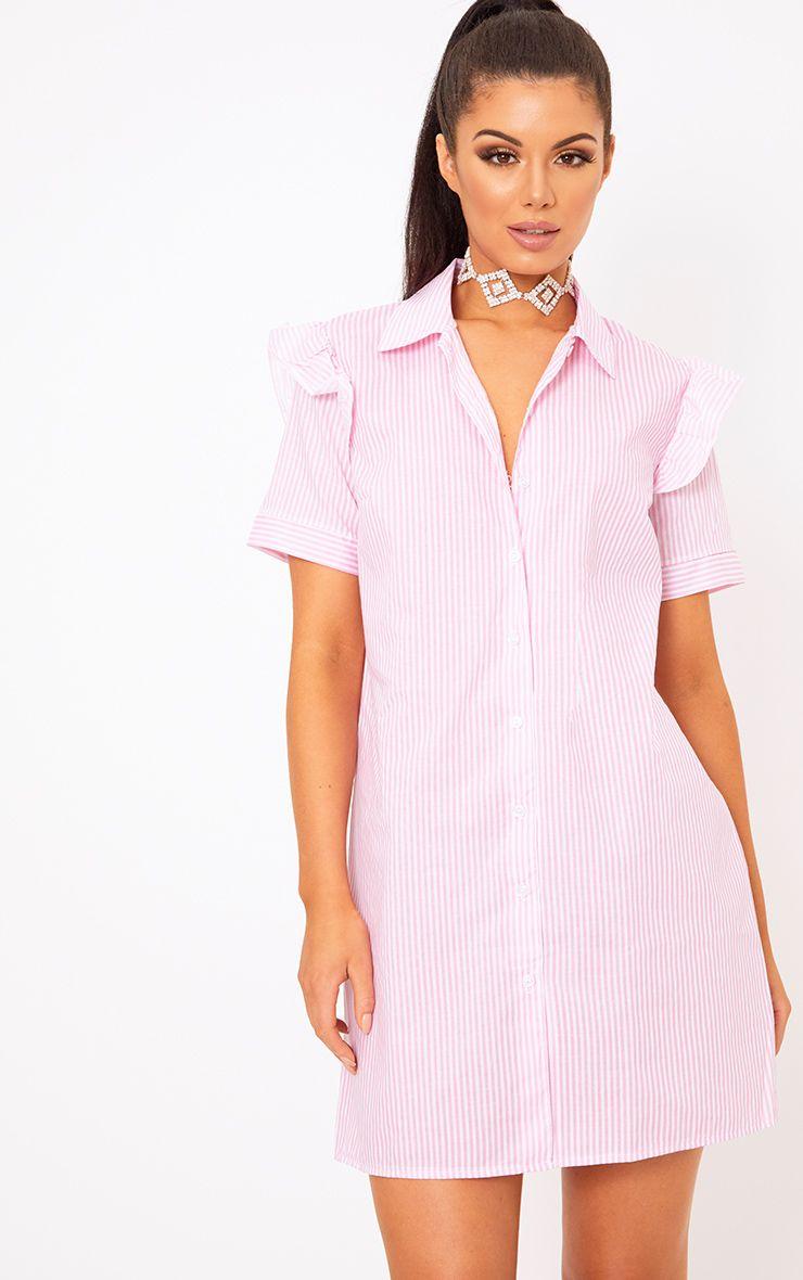 Wendayar Pink Stripes Frill Short Sleeve Shirt Dress