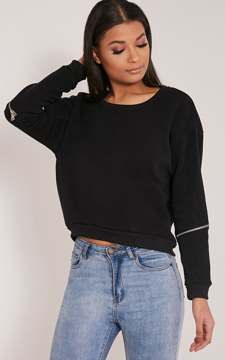 Zelina Black Zip Sleeve Sweatshirt 1